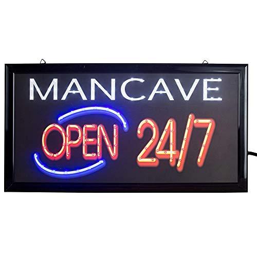 American Art Decor Man Cave Open 24/7 Framed Light Up LED Sign for Game Room Bar Man Cave Garage ()