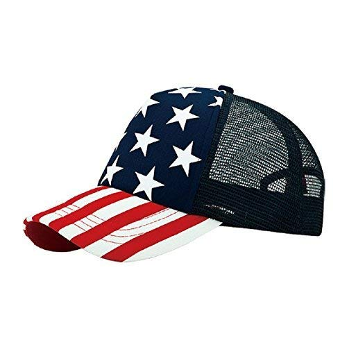 (MG 5 Panel Foam Mesh Trucker USA Patriotic Flag Snap Back Baseball Cap - Flag)