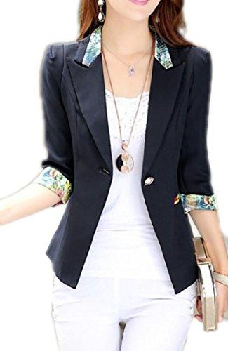 assic One Button Silk Edge 3/4-Sleeve Lapel Suit Blazer Jacket Black S (Classic Silk Blazer)
