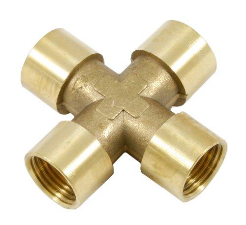 125 PSI 4-Way 3//8-Inch Female NPT Forney 75366 Brass Cross