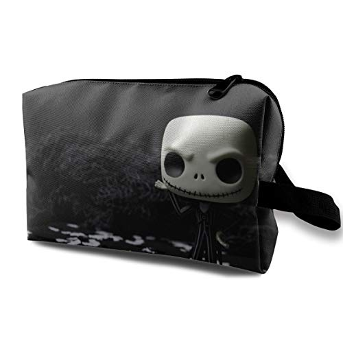 Black Dark Doll Fear Halloween Horror Scary Skull Spooky Terror Toy Multi-function Travel Makeup Toiletry Coin Bag Case ()