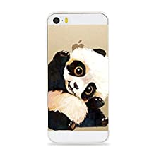 iPhone 5 5S SE Case,Lovely Animal Pattern on Soft TPU Silicone Protective Skin Ultra Slim & Clear with Unique Art Design Gift Bumper Cover for 5/5s/SE 4 inch,Panda hello