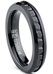 Ultimate Metals® Anillo de Matrimonio Titanio Negro Para Mujer, Alianza de Boda Con Circonitas Negras Talla Princesa 4mm