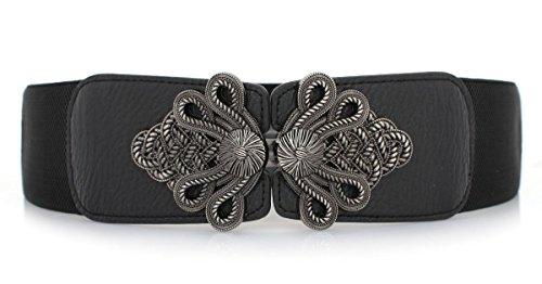 Vintage Womens Wide Belt Interlock Buckle Belt Stretching Bands Waist