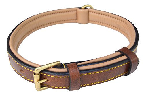 - Soft Touch Collars Leather Padded Dog Collar Slimline Edition, Medium Brown