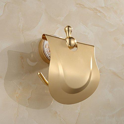 Ibnotuiy European Antique Space Aluminum Wall Mounted Toilet Paper Holder Luxury Ceramic Bathroom Waterproof Tissue Holders Gold by Ibnotuiy (Image #3)