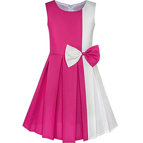 Color Block Contrast Bow Tie Everyday Party 2018 Summer Princess Wedding Dresses Clothes Size 4-14,Pink,7