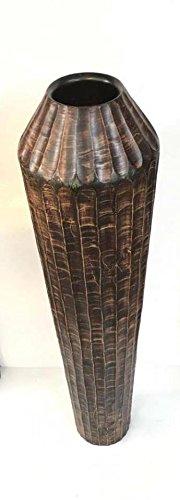 Baan Tawai, Chiang Mai, Mango Wood Vase Hand-Crafted, Floor Vase 30 inches (No.0017) by WADSUWAN SHOP