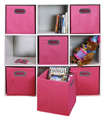 Adorn Home Essentials| Dual Handle Foldable Cloth Storage Cube| Basket, Bins,Containers and Drawer Organizer| 6- Pack - Pink]()