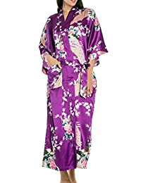 FEOYA Women's Kimono Long Robe Peacock & Blossoms Printing Silk Nightwear