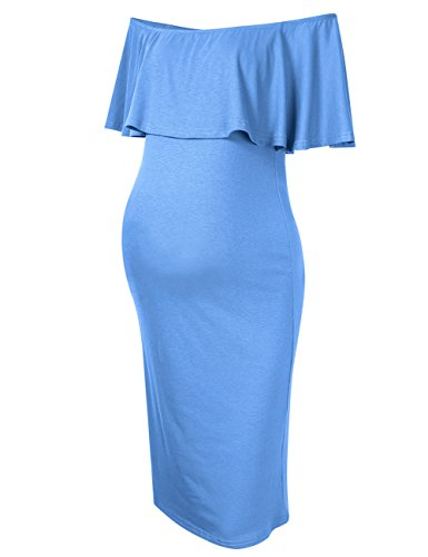 MissQee Women's Maternity Dress Off Shoulder Casual Maxi Dress (M, Sky Blue)