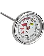 TFA Dostmann Analoge braadthermometer van roestvrij staal, 14.1028, ideaal voor vlees, vis, gevogelte, vleesthermometer, perfect frituren, zilver