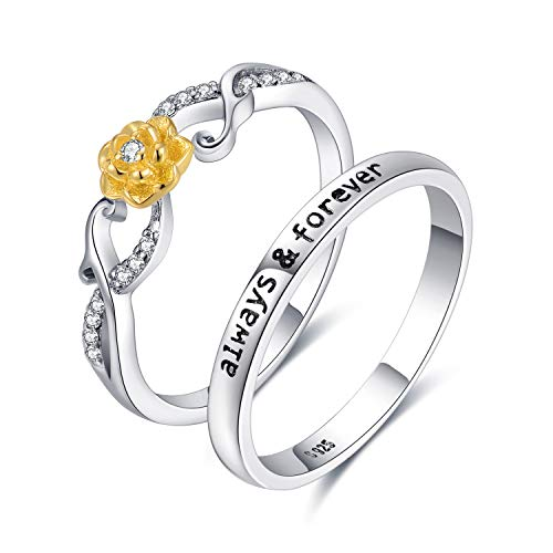 JewelryPalace Yellow Enamel Flower Engraved Always Forever Cubic Zirconia Stackable Wedding Ring Sets 925 Sterling Silver size - Stackable Romantic Ring Flower