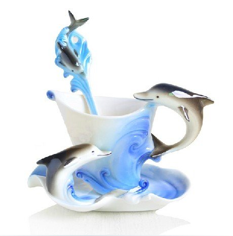 (Glodeals (TM) Hand Crafted Porcelain Enamel Delicate Tea Coffee Cup Set with Saucer and Spoon (Dolphin))