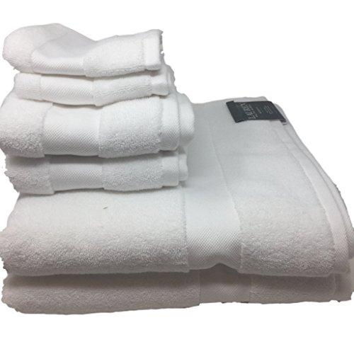 Lauren Ralph Lauren Wescott Towel 6 Piece Set Bundle Sailcloth White - 2 Bath Towels, 2 Hand Towels, 2 Washcloths