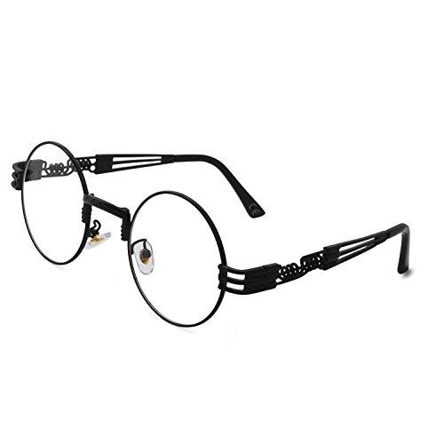 Marco Steampunk Claro AMZTM Gafas de Marco Sol Vendimia Lente Metal de de Gafas Redondo Negro 055OqA