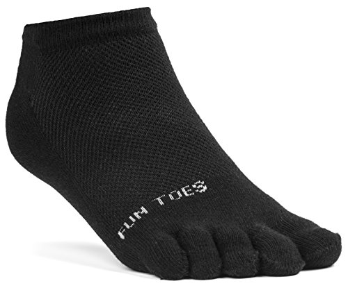 FUN TOES Women's Cotton Toe Socks Breathable Mesh -PACK OF 6 PAIRS- Size 9-11 -Lightweight, Black by FUN TOES (Image #1)