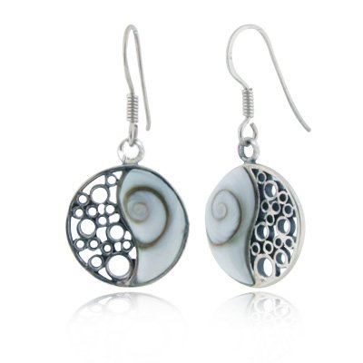 925 Sterling Silver Shiva Eye Shell Inlay Yin Yang Dangle Hook (Shell Inlay Earrings)