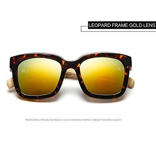 Leopardo Oro Highdas de Shades Bamb¨² Oversized Gafas Hombre de Sol Mujer Brazo Madera 6wP1qR6