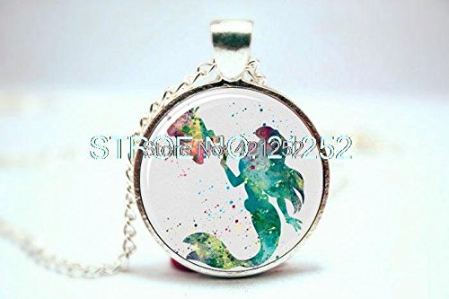 Pretty Lee 2015 Fashion Little Mermaid Ariel Art Print Necklace Glass Photo Cabochon Necklace Christmas gift