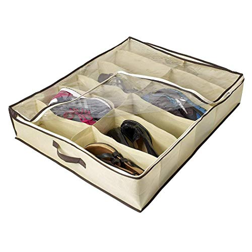 ThinIce Underbed Shoes Organizer, Underbed Shoes Closet Storage Solution, Mesh Top Breathable Material with Zipper for Kids/Adults (for 12 Pair Shoes) by ThinIce