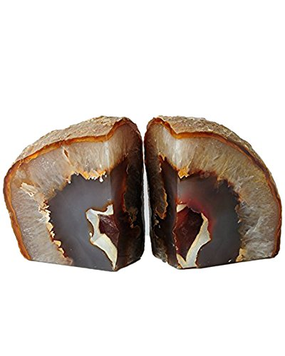 Amoystone Agate Natural Bookends Pair, Hand Made Polished Bookends for Rock Collectors 4-6 lbs -