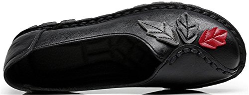 SATUKI Handmade Loafer Shoes For Women, Casual Leather Slip-On Pastoral Floral Soft Shoes Black