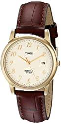 Timex Men's T2M441 Easy Reader Gold-Tone Watch with Brown Leather Band