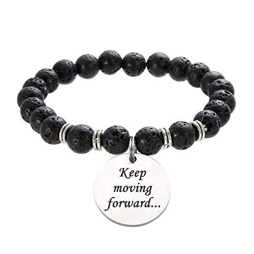 "Stretch Charm Motivational Bracelet Daily Reminder Natural Stone Bracelet Engraved ""Keep moving forward..."" Stress Relief Bracelet Essential Oil Diffuser Bracelet for Women Girls Lava Bead Bracelet"