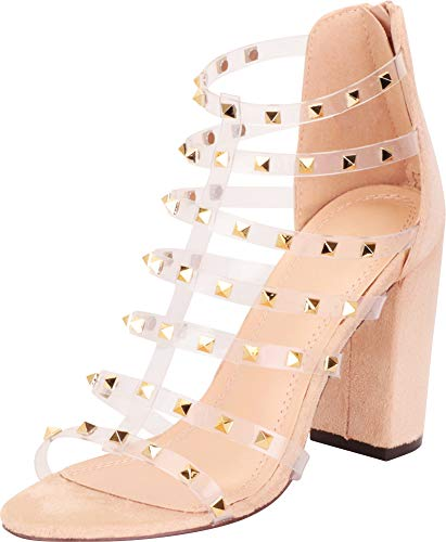 Cambridge Select Women's Clear Strappy Pyramid Stud Chunky Block High Heel Sandal,8.5 B(M) US,Nude - Stud Pyramid Zip