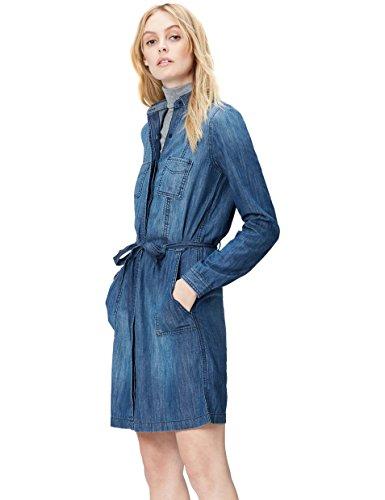 FIND Belted Denim Shirt - Robe - Femme Bleu (Blue)