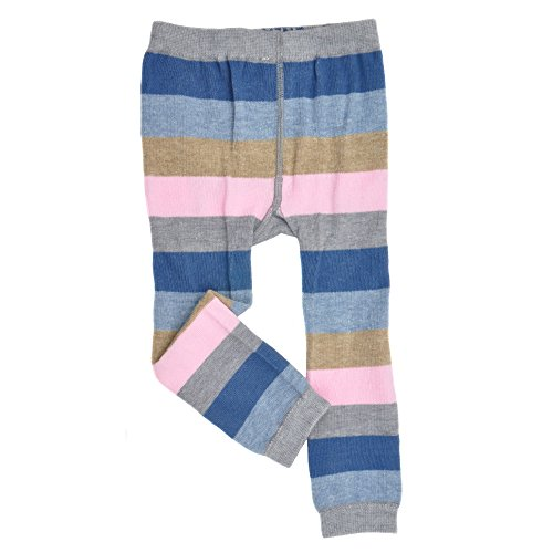 Infant Footless Tights - Stripes Gray/Blue/Navy - Girls Cute Organic Leggings