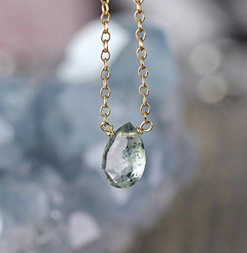 Collar con colgante de aguamarina de musgo con cadena de plata de ley o relleno de oro y aguamarina de facetado natural, piedra de lágrima verde, joyería de 10 mm