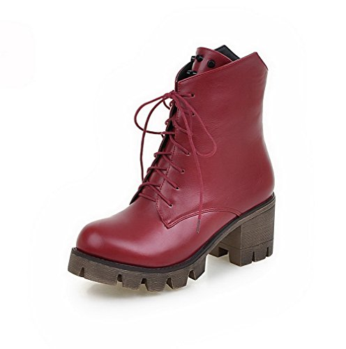 Amoonyfashion Kvinners Kattunge Hæler Mykt Materiale Lav Topp Solid Blonder-up Boots Claret