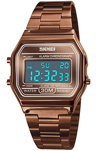 PASOY Unisex Men's Digital Watch Brown Gold Stainless Steel LED Backlit Electronic Multifunction Date Alarm Stopwatch Square Woman Waterproof Sport Watches (Brown)