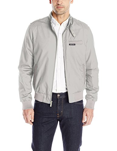 Members Only Men's Original Iconic Racer Jacket, Light Grey, Small
