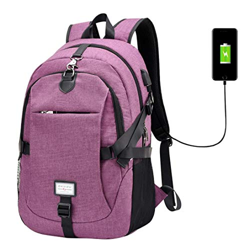 Outsta Multifunction USB Charging Backpack,Laptop Bags College School Backpack Unisex Fashion Oxford Shoulder Bag Purse Waterproof Casual Solid Color (Purple)