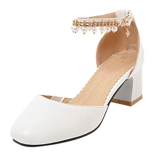 White Zapatos Sandalias Tacones Mujer Cerrado Oficina Verano Coolcept 46 vwI0x4fB
