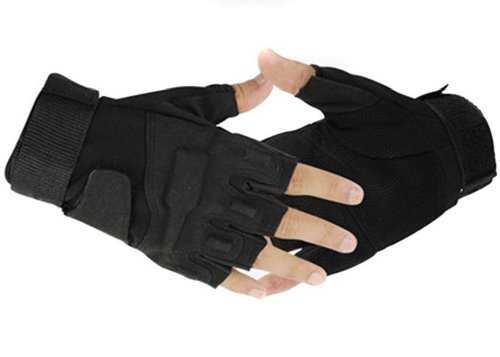 NSSTAR Military Half-finger Fingerless Tactical Airsoft Hunting Riding Cycling Gloves (Black, Medium)