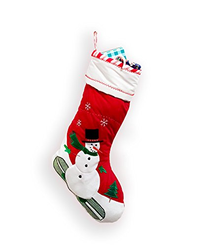 - Large Quilted Christmas Stocking/Snowman,Reindeer,Train,Airplane,Santa,Ballerina (SNOWMAN)