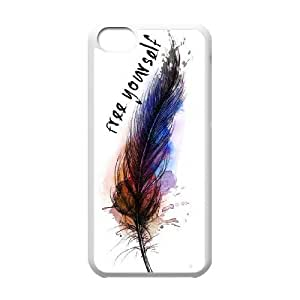 Feather Quote Fly Unique Fashion Printing Phone Case for Iphone 5C,personalized cover case ygtg616505