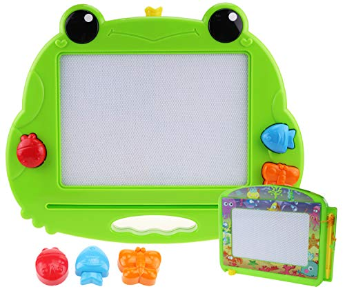 CHUCHIK Toys Magnetic Drawing Board for Kids and Toddlers. Large 14.8 Inch Doodle Writing Pad Comes with a 4-Color Travel Size Doodle Sketch Board.. -