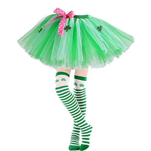 (Girls St Patricks Day Tutu Skirt and Stockings Set - Shamrocks Parade Dress-up Costume Gifts for Kids Teens | Green Elastic Waistband Layers Tulle Ballet Bubble for Photography Dancing Party)