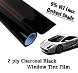 The Online Liquidator 48'' x100' feet Black Window Tint Film Roll - Darkest Shade Limo 5% VLT for Car and Residential Privacy Glass Easy DIY