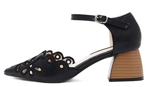 IDIFU Womens Sweet Hollow Out Mid Chunky Heels Pumps With Ankle Strap Black h6UaDa