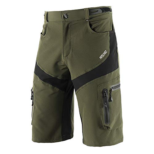 (Lixada Mens Mountain Bike Biking Shorts,Cycling Shorts Quick Drying Breathable Outdoor Sports Running Bike Riding Casual Shorts with 6 Pockets)