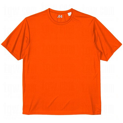 A4 Men's Cooling Performance Crewneck Top, Orange, Small by A4