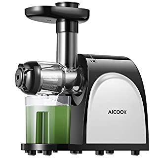 Juicer, Aicook Slow Masticating Juicer, Cold Press Juicer Machine Easy to Clean, Higher Juicer Yield and Drier Pulp, Juice Extractor with Quiet Motor and Reverse Function, BPA-Free, with Recipes