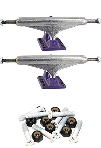"""INDEPENDENT Stage 11-149mm Hollow Standard Silver/Andozized Purple Skateboard Trucks - 5.87"""" Hanger 8.5"""" Axle with 1"""" White Hardware"""