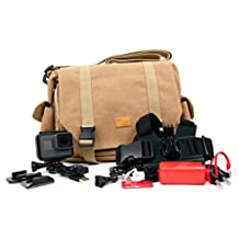 DURAGADGET Tan-Color Brown Canvas Carry Bag for GoPro Hero 5, Hero 4 (Black / Silver / Session), Go Pro 3, GoPro Hero 3+, Hero HD Head Cams (Helmet Hero, Motorsports Hero, Surf Hero), Toshiba Camileo X-Sports - With Multiple Adjustable Storage Compartments and Long Shoulder Strap